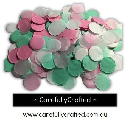 CarefullyCrafted - 25 Grams Tissue Paper Confetti - Pink and Mint - 1 inch Circles  - wedding, party, wedding planning, confetti, confetti pieces, paper pieces, mint confetti, white confetti, pink confetti, tableware, event, event décor, decoration http://carefullycrafted.com.au/25-grams-tissue-paper-confetti-pink-and-mint-1-inch-circles-cc1/
