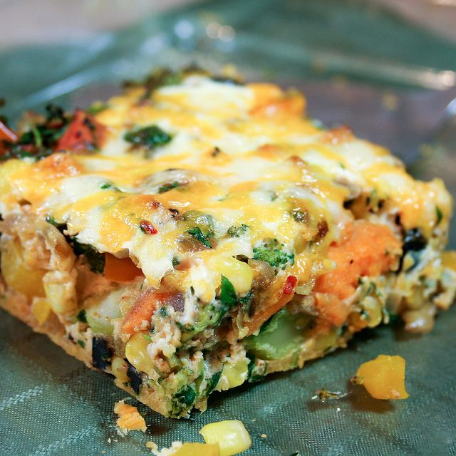 Sweet Potato Oven Baked Frittata - Includes all kinds of vegetables: broccoli, black olives, bell peppers, onions, AND sweet potato.