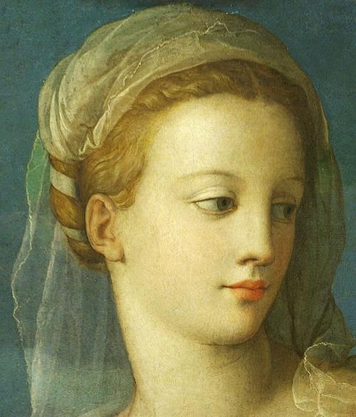jaded-mandarin:    The Holy Family with the Infant St. John the Baptist - Agnolo Bronzino. Detail.