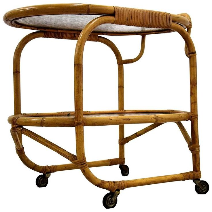 Bamboo Serving Trolley, 1960s | From a unique collection of antique and modern serving tables at https://www.1stdibs.com/furniture/tables/serving-tables/