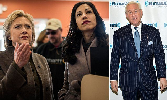 Roger Stone, a GOP political consultant and informal advisor to Donald Trump, is urging Trump to start questioning the role of Huma Abedin, a longtime aide to Hillary Clinton.