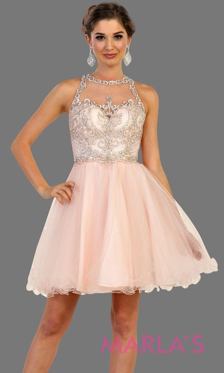f576d91d07 Short high neck puffy blush pink dress with lace top. Perfect for grade 8  grad