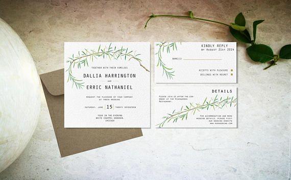 Minimal botanical wedding invitation template Digital