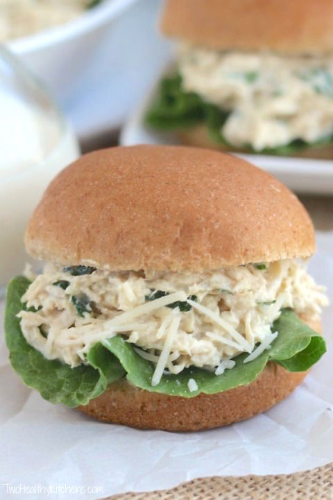 Looking for a quick and easy dinner that'll have the whole family asking for seconds? These Crock Pot Chicken Caesar Sandwiches are a snap to make, and the homemade Caesar dressing is packed with protein! Healthy and delicious!
