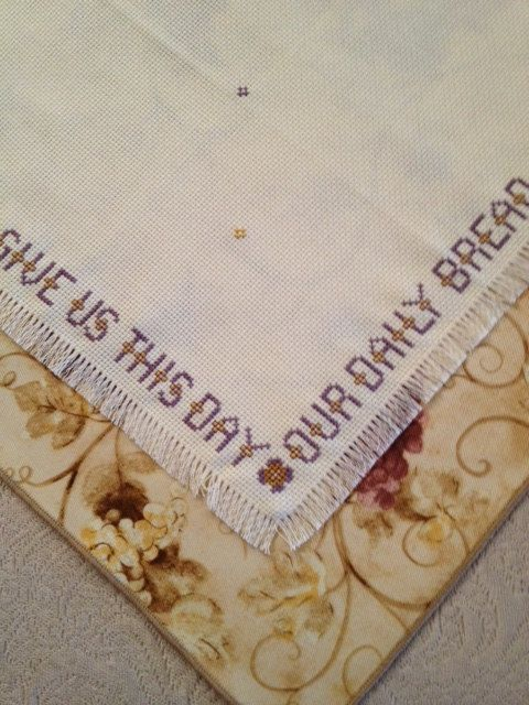 Bread Cloth/Napkin with Grapes Give us this day by ontheroadmama