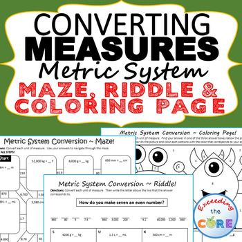 CONVERT METRIC UNITS OF MEASURE Mazes, Riddles & Coloring Page includes 3 Activities / 30+ skills practice questions. Perfect for math stations, math homework or math assessment prep. Topics Include: ✔ Metric Conversions (including length, weight and volume) ✔ Convert Larger Units to Smaller Units ✔ Convert Smaller Units to Larger Units 5th grade math common core 5.MD.1