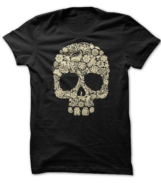 New t shirts halloween floral skull t shirt buy now for you halloween t shirt floral designs make up the skull design on the front of this tee