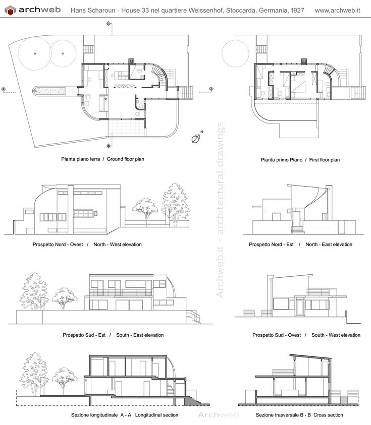 Hans scharoun house 33 weissenhof dwg drawings for Arch decoration crossword clue