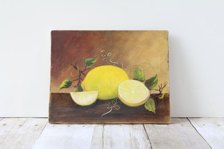 Small Original Vintage Fruit Painting / Lemon Greenery Painting / Unframed Yellow Brown Kitchen Wall Decor by whateverislovely on Etsy