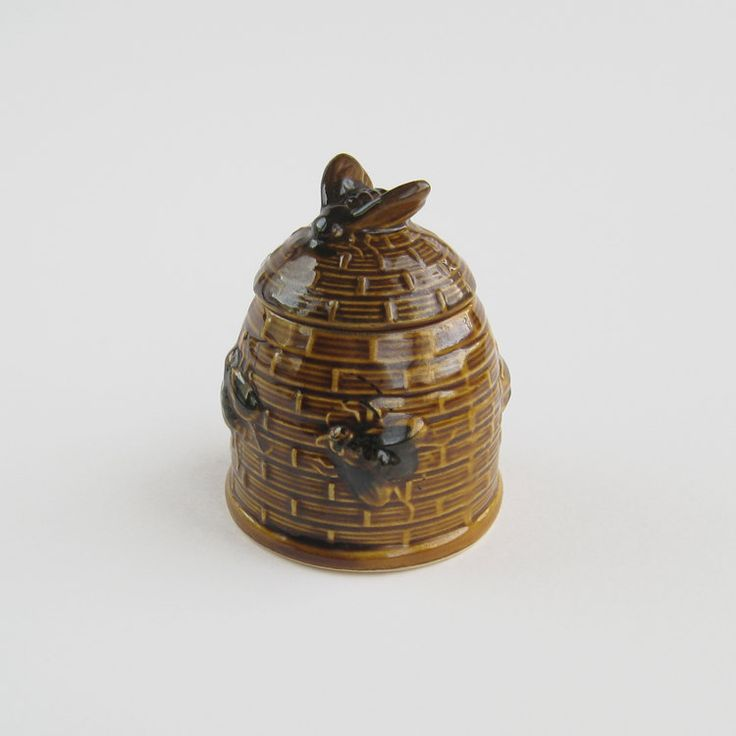 Vintage porcelain bee hive honey pot with lid small wicker basket china ceramic brown caramel - Wicker beehive basket ...
