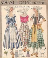 1920's McCall Dutch costume pattern