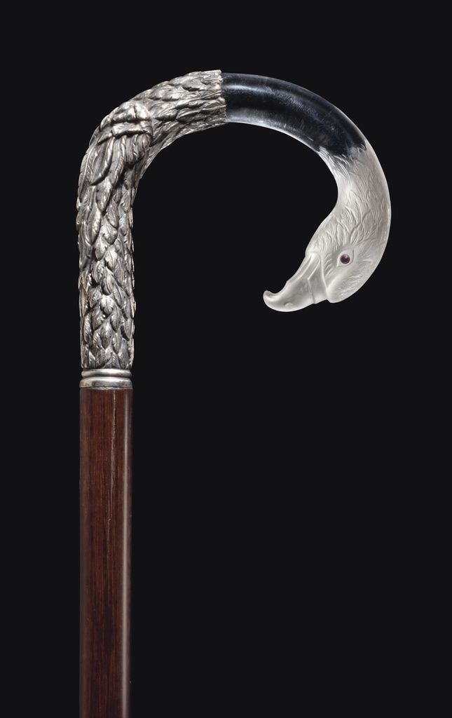 antique french walking stick | SILVER AND ROCK CRYSTAL ANIMAL CANE, estimate: $4,000-6,000