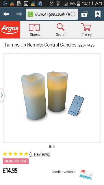 Remote control LED candles - Argos