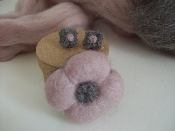 Felted Flower Pin and Matching Earrings by LaPommeEtLaPipe on Etsy, $20.00