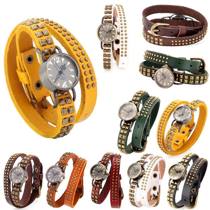 Cheap Women Lady Quartz Wrist Watch Vintage Rivet Round Wrap Strap Online coffee   Tomtop  #women #men #fashion #jewelry #watches