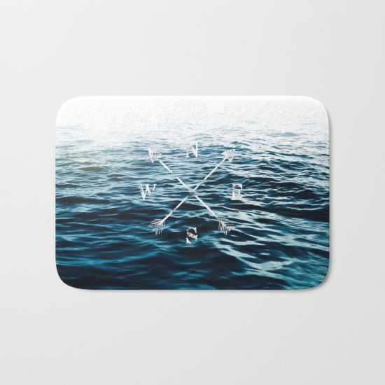 Winds of the Sea Bath Mat by Nicklas Gustafsson | Society6 #sea #ocean #waves #blue #landscape #seascape #typography #adventure #summer #travel #rug #homedecor #bathmat