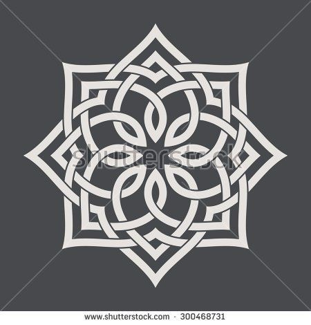 Circular pattern in arabesque style. Eight pointed star on dark background. Mandala. Lotus