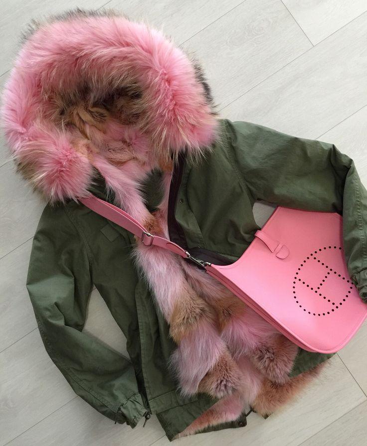 Mr & Mrs Italy mini parka in color Pink Panther and Hermes Evelyne bag in color Rose Confetti. Fur parka, winter coat, hermes bag
