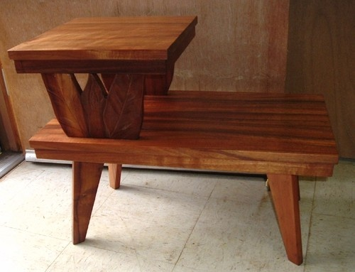 vintage koa carved endtable hawaiian furniture hawaii