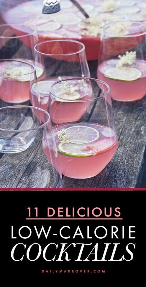 11 healthy alcoholic drink recipes that are absolutely delicious! // All LOW-CALORIE // Includes recipes for: Coconut Margarita, Wine Spritzer, Fruit Cup Cocktails, Vodka Gimlet, Mojito, Sangria, and more!