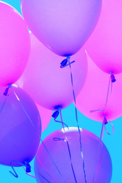 I want pink and purple balloons released after I die. Maybe red too. With messages written on them.