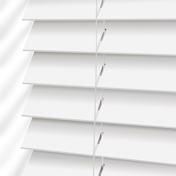 Pure White Wooden Blind - 50mm Slat
