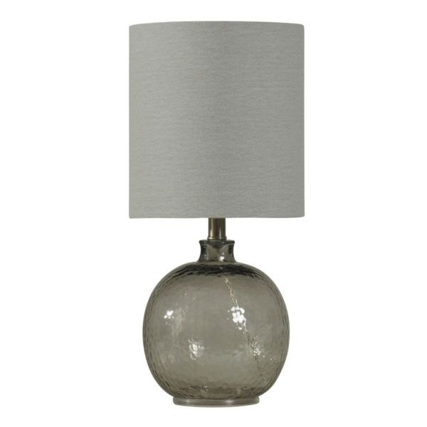 Stylecraft L13165 Smoked Glass Lamp Hammered Table Lamps Glass Table Lamp Grey Table Lamps