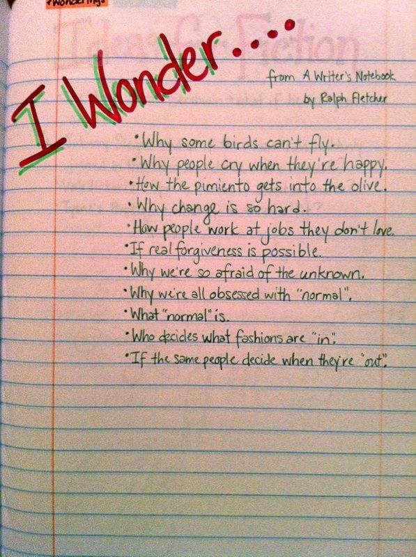 Writer's Notebook Ideas and Examples. Would be great as a warm- up in my writing class.
