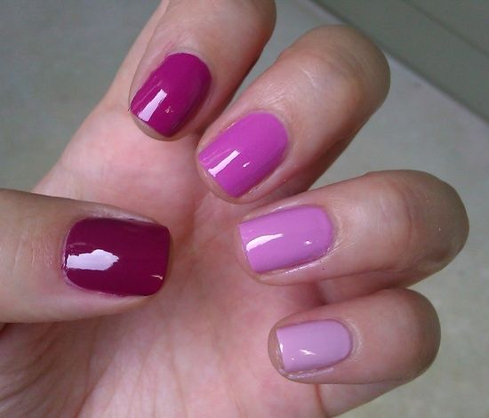 Ombre Nails In Purple Pink Thumb To Pinky Opi No Spain Gain Dim Sum Plum Essie Splash Of Grenadine Lucky Lavender Panda Monium