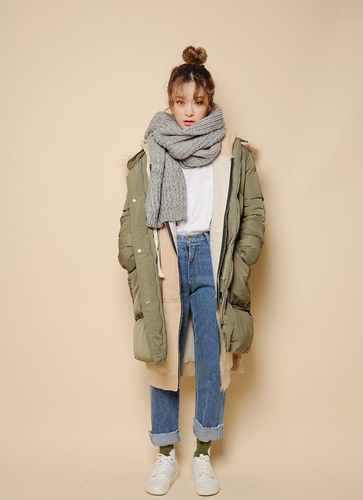 Detachable Hood Padded Coat (Khaki) | STYLENANDA