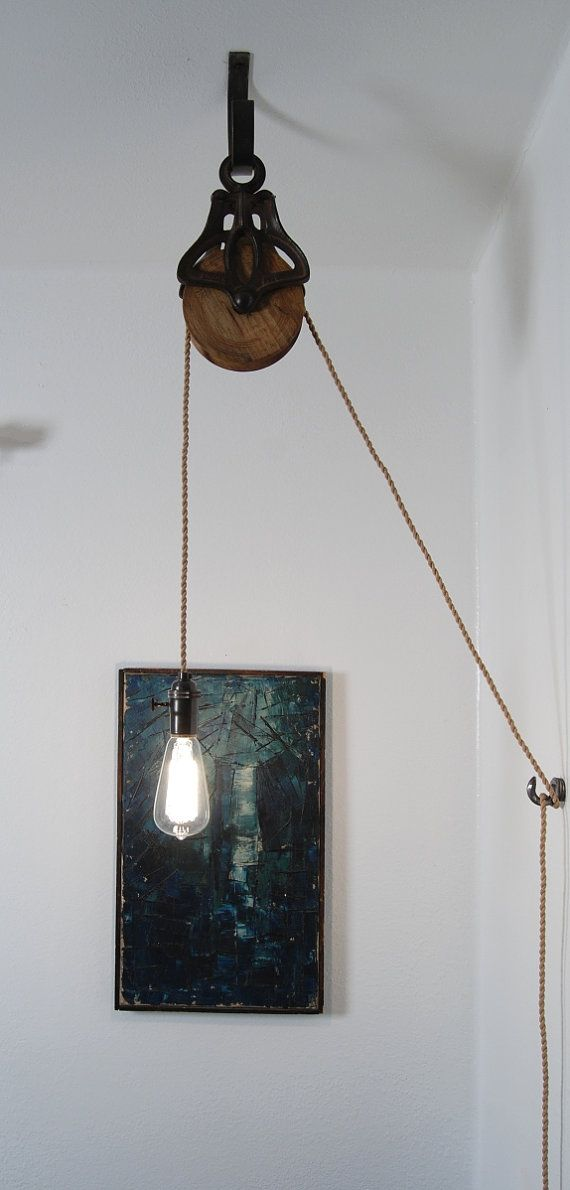 Antique Cast Iron & Wood Pulley Lamp  Vintage by PhotonicStudio