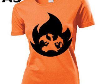 """T-shirt Orange pour Femme (différentes tailles disponibles), logo """"Dracaufeu"""" - Format d'impression au choix: A3 ou A4"""