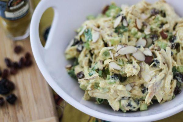 Curried chicken salad - chicken, yogurt, mayo, raisins, celery, curry ...