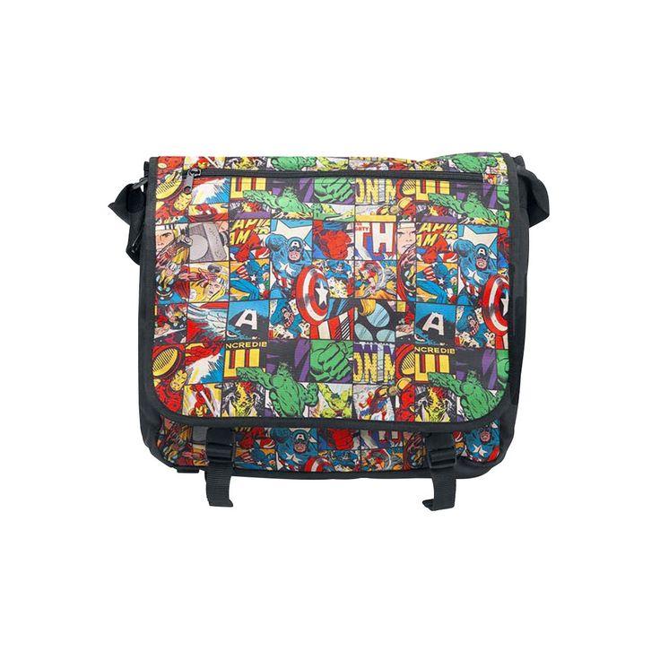 Marvel - Characters Messenger Bag    - Messenger Bag mit Comic-Print der Marvel-Charaktere Captain America, Hulk, Iron Man und Thor  - Fach mit Reißverschluss vorne  - vordere Lasche durch Schnallen verschließbar  - längenverstellbarer Schultergurt  - Schultergurt mit Gurtschutz  - die Tiefe der Tasche lässt sich durch Öffnen eines Reißverschlusses erweitern  - Maße ca. 37 x 32 x 11 cm