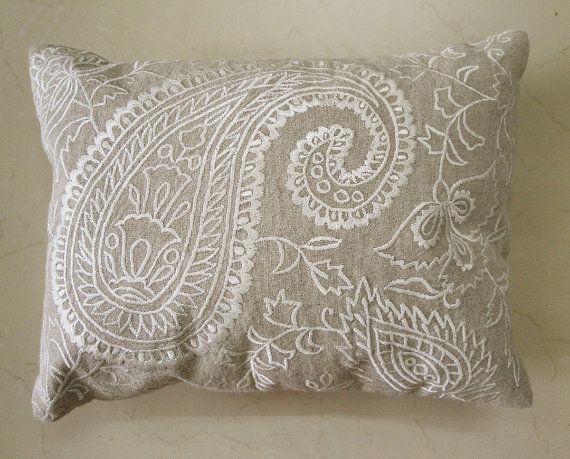 Embroidered White Paisley Design on Natural Linen by anekdesigns, $40.00