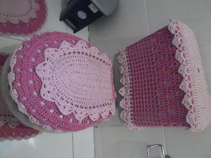 jogo de banheiro na com rosa bebê com rosa aceito encomendas em outras cores