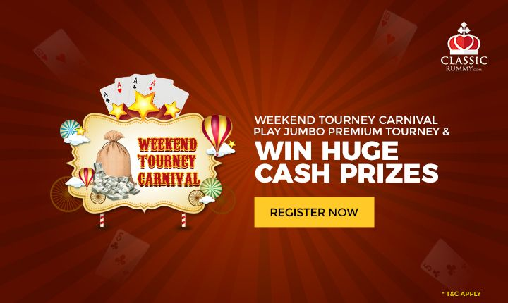 Weekend Tourney Carnival: Play Jumbo Premium Tourney & Win Huge Cash Prizes.  #rummy #online #cashback #mobile #free