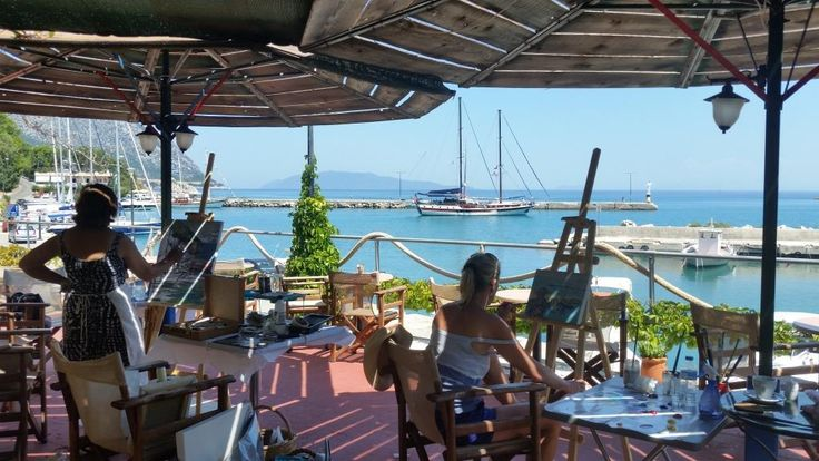 Metaxart workshops painting outdoor at the picturesque Poros Port, Kefalonia