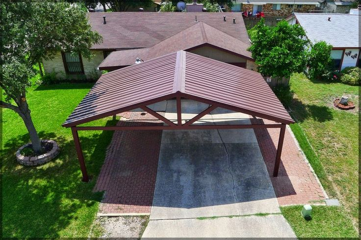 Double timber Carport with tiled Dutch gable roof Dutch