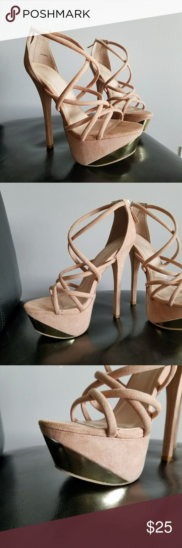 Nude Strappy Heels w Gold Accent | 8 Ordered online, they are so cute, I paid full price plus shipping! Never know what size to order here, these were just a tiny bit too loose on me so have not worn them besides for one brief dinner, in excellent condition! Charlotte Russe Shoes Heels