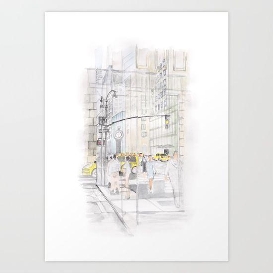 #NewYork, #street, #watercolor, #drawing, #window, #reflection, #traffic, #city, #illustration