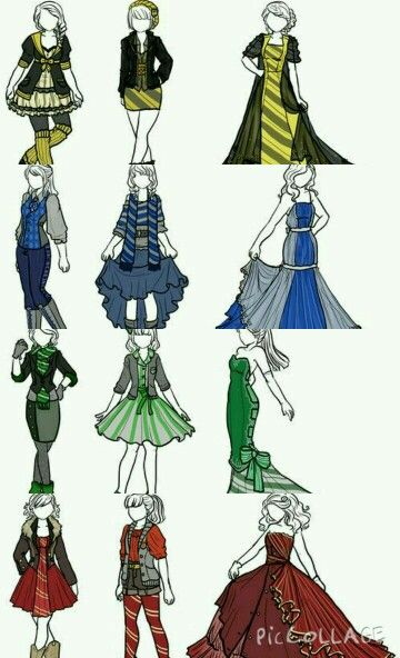 Casual, formal, and Yule Ball outfits for the Hogwarts houses. Love the Hufflepuff outfits!! :)