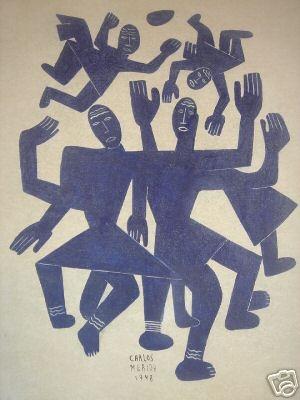 Untitled (Futbol?) (1942) by Guatemalan artist & printmaker Carlos Mérida (1891-1984). Unknown source.
