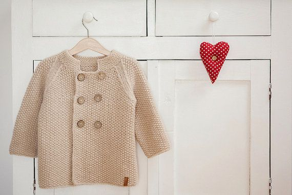Beige baby coat / Hand knitted wool sweater / Baby / by GeraBloga