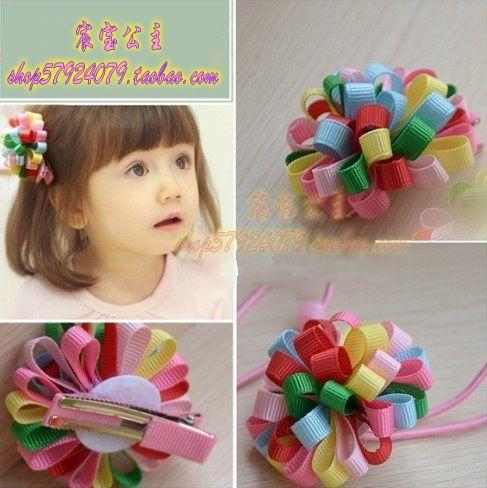 Полный доставка корейский дети ребенок цветные цветочные аксессуары для волос шпилька сторона зажим для волос шарики волос веревочки супер мило / поддержка - Taobao