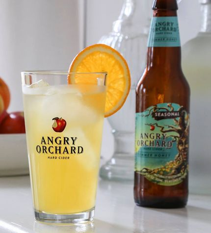 HONEY DON'T BEE ANGRY Ingredients: 4 oz Angry Orchard Summer Honey 1 oz vodka ½ oz triple sec ½ oz passion fruit puree