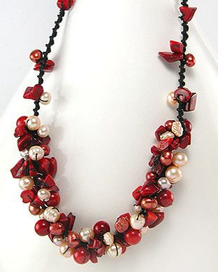 50727346 Collar de Coral, Perlas de Agua Dulce c/Algodon, (En oferta)