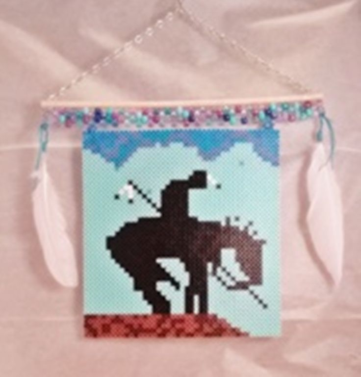 Native American, Horse Warrior Banner. Made with Perler  & Pony Beads