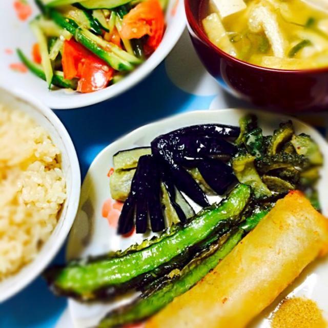 揚げ物はカレー塩で - 11件のもぐもぐ - 春巻うりずんゴーヤ茄子の揚げ物、胡瓜トマ茗荷ごま和え、揚げ豆腐味噌汁、出汁ご飯 by akarizumu