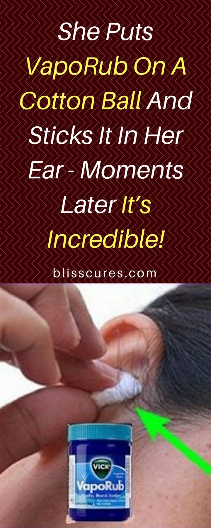 She Puts VapoRub On A Cotton Ball And Sticks It In Her Ear - Moments Later It's Incredible!